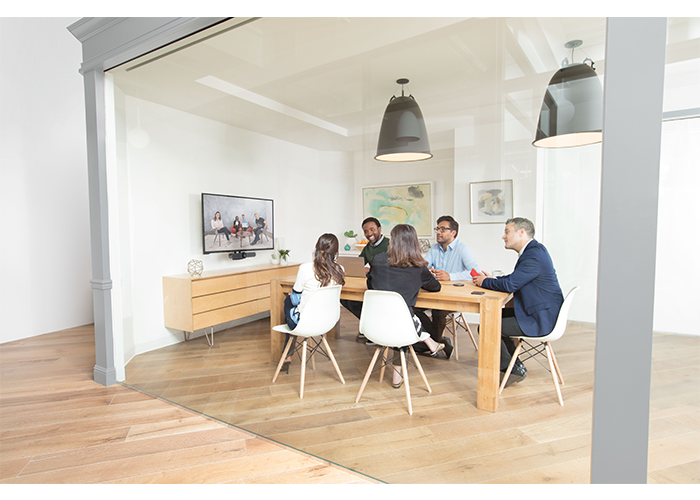 Logitech-MeetUp-ConferenceCam-lifestyle-huddle-small-meeting-room-camera-below-display