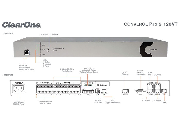 ClearOne-CONVERGE-Pro2-128VT-Professional-Audio-DSP-Mixer-front-back-panels