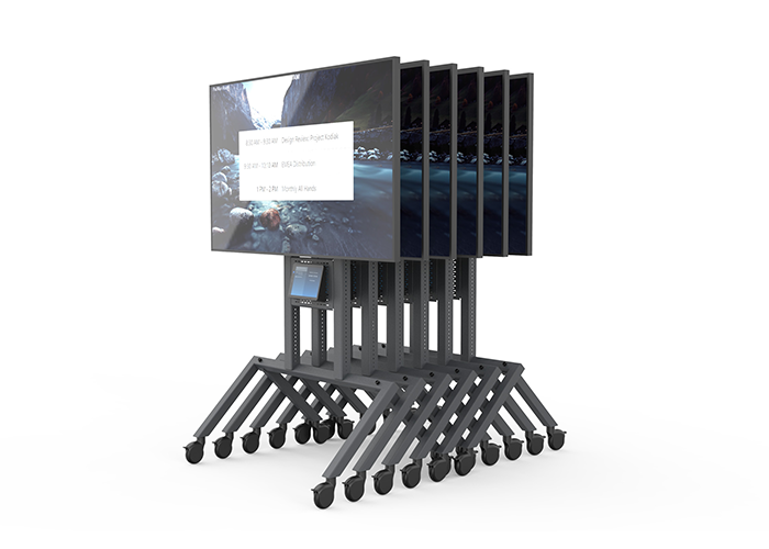 Heckler-Design-H709-Control-shelf-front-view-in-use-stackable