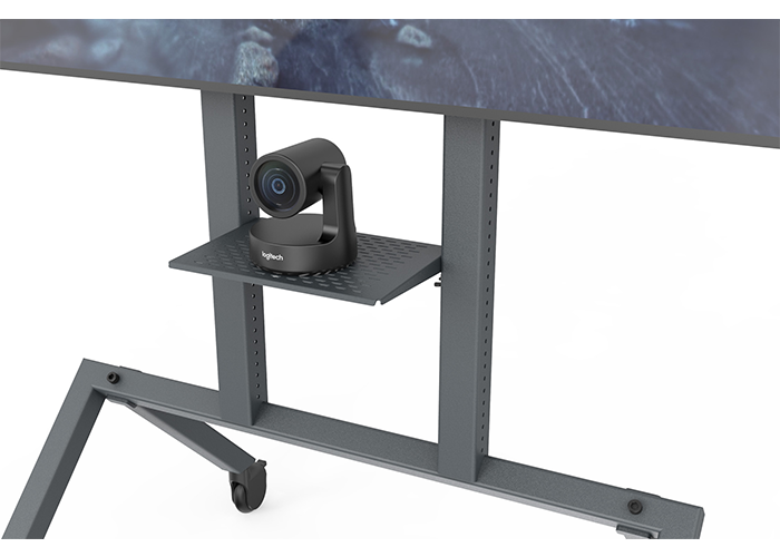 Heckler-Design-H709-Control-shelf-front-view-in-use-with-Logitech-Rally-camera