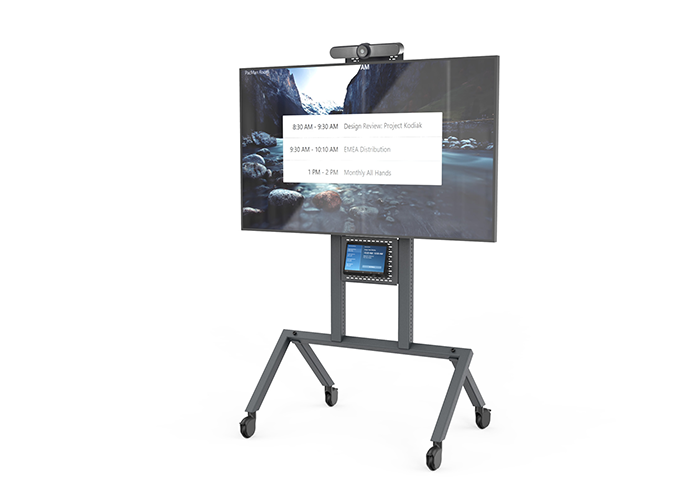 Heckler-Design-H709-Control-shelf-front-view-in-use-with-Logitech-Tap-Zoom-MeetUp-full-cart