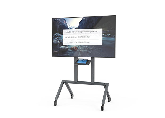 Heckler-Design-H709-Control-shelf-front-view-in-use-with-Logitech-Tap-Zoom-full-cart