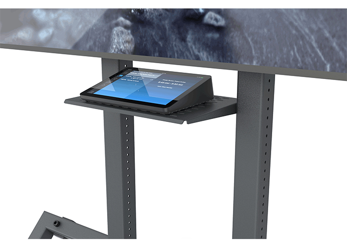 Heckler-Design-H709-Control-shelf-front-view-in-use-with-Logitech-Tap-Zoom