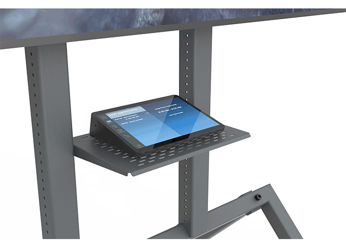 Heckler-Design-H709-Control-shelf-side-view-in-use-with-Logitech-Tap-Zoom