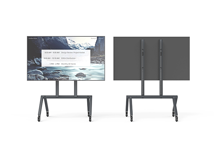 H714-Heckler-AV-Cart-Base-Configuration-front-back-views-black-grey-bg