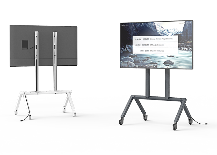 H714-Heckler-AV-Cart-Base-Configuration-single-screen-front-back-views-black-grey-bg-white-antimicrobial-wt