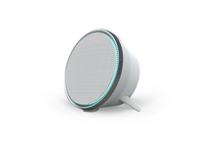 Stem-Audio-Speaker-right-side-view-standing-with-blue-led-on