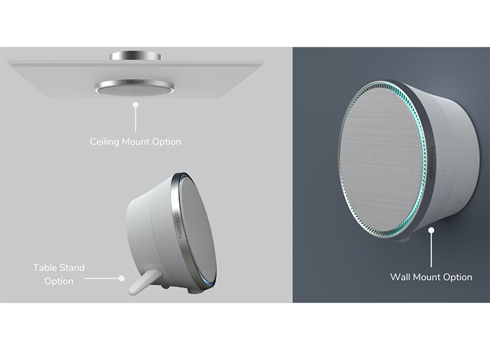 Stem-Audio-Speaker-three-mounting-options-standing-wall-ceiling-mounted