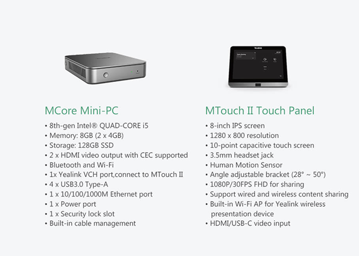 Yealink-MVC-II-Series-MCore-WIN10-IOT-mini-PC-and-MTouch-II-Touch-Panel-Specifications